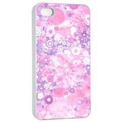 Lovely Allover Ring Shapes Flowers Pink Apple iPhone 4/4s Seamless Case (White)