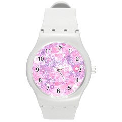 Lovely Allover Ring Shapes Flowers Pink Round Plastic Sport Watch (M)