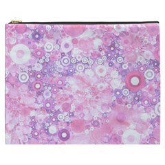 Lovely Allover Ring Shapes Flowers Pink Cosmetic Bag (XXXL)