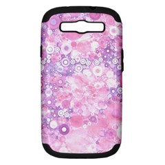 Lovely Allover Ring Shapes Flowers Pink Samsung Galaxy S III Hardshell Case (PC+Silicone)