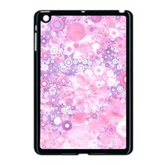 Lovely Allover Ring Shapes Flowers Pink Apple iPad Mini Case (Black)