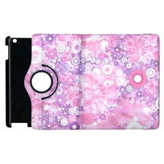 Lovely Allover Ring Shapes Flowers Pink Apple iPad 2 Flip 360 Case