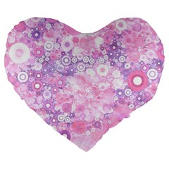 Lovely Allover Ring Shapes Flowers Pink Large 19  Premium Heart Shape Cushions