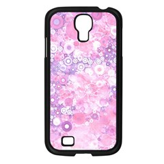 Lovely Allover Ring Shapes Flowers Pink Samsung Galaxy S4 I9500/ I9505 Case (Black)