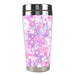 Lovely Allover Ring Shapes Flowers Pink Stainless Steel Travel Tumblers