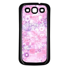 Lovely Allover Ring Shapes Flowers Pink Samsung Galaxy S3 Back Case (Black)