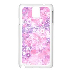 Lovely Allover Ring Shapes Flowers Pink Samsung Galaxy Note 3 N9005 Case (White)