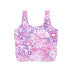 Lovely Allover Ring Shapes Flowers Pink Full Print Recycle Bags (S)