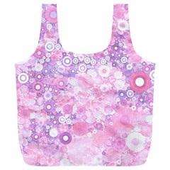 Lovely Allover Ring Shapes Flowers Pink Full Print Recycle Bags (L)
