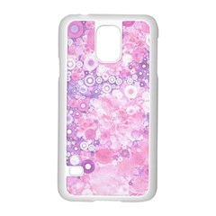 Lovely Allover Ring Shapes Flowers Pink Samsung Galaxy S5 Case (White)