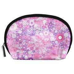 Lovely Allover Ring Shapes Flowers Pink Accessory Pouches (Large)