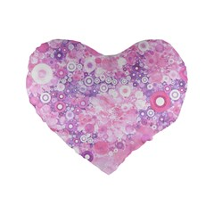 Lovely Allover Ring Shapes Flowers Pink Standard 16  Premium Flano Heart Shape Cushions
