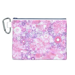 Lovely Allover Ring Shapes Flowers Pink Canvas Cosmetic Bag (L)
