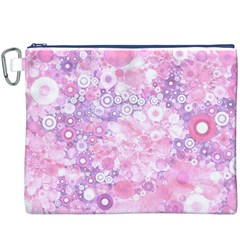 Lovely Allover Ring Shapes Flowers Pink Canvas Cosmetic Bag (XXXL)