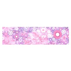 Lovely Allover Ring Shapes Flowers Pink Satin Scarf (oblong)