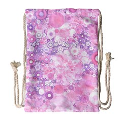 Lovely Allover Ring Shapes Flowers Pink Drawstring Bag (Large)