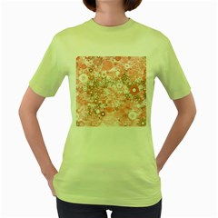 Lovely Allover Ring Shapes Flowers Women s Green T-Shirt
