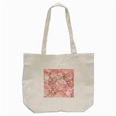 Lovely Allover Ring Shapes Flowers Tote Bag (Cream)
