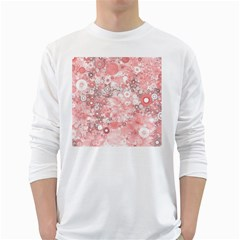 Lovely Allover Ring Shapes Flowers White Long Sleeve T-Shirts