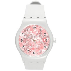 Lovely Allover Ring Shapes Flowers Round Plastic Sport Watch (M)