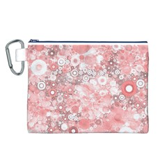 Lovely Allover Ring Shapes Flowers Canvas Cosmetic Bag (l)