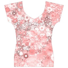 Lovely Allover Ring Shapes Flowers Women s V-Neck Cap Sleeve Top