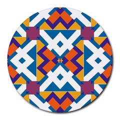 Shapes in rectangles pattern Round Mousepad