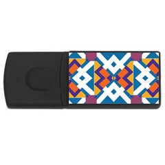 Shapes in rectangles pattern USB Flash Drive Rectangular (4 GB)