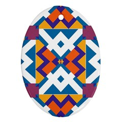 Shapes in rectangles pattern Oval Ornament (Two Sides)