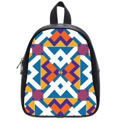 Shapes in rectangles pattern School Bag (Small)