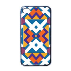 Shapes in rectangles pattern Apple iPhone 4 Case (Black)