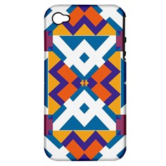 Shapes in rectangles pattern Apple iPhone 4/4S Hardshell Case (PC+Silicone)
