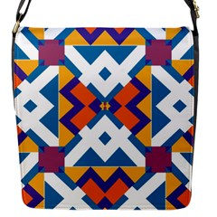 Shapes in rectangles pattern Flap Closure Messenger Bag (S)