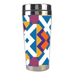 Shapes In Rectangles Pattern Stainless Steel Travel Tumbler