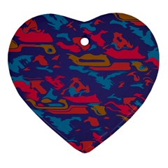 Chaos in retro colors Heart Ornament (Two Sides)