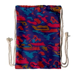 Chaos in retro colors Large Drawstring Bag