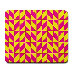Pink and yellow shapes pattern Large Mousepad