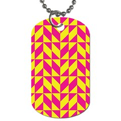Pink and yellow shapes pattern Dog Tag (One Side)