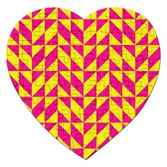 Pink and yellow shapes pattern Jigsaw Puzzle (Heart)