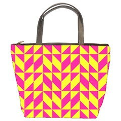 Pink and yellow shapes pattern Bucket Bag