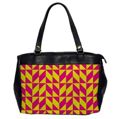 Pink and yellow shapes pattern Oversize Office Handbag