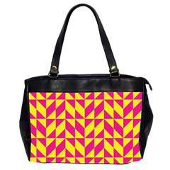 Pink and yellow shapes pattern Oversize Office Handbag (2 Sides)