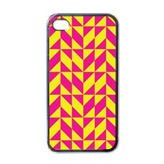 Pink and yellow shapes pattern Apple iPhone 4 Case (Black)