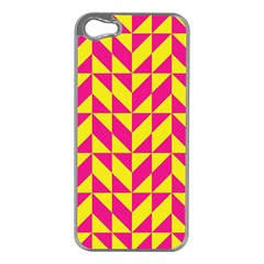 Pink and yellow shapes pattern Apple iPhone 5 Case (Silver)