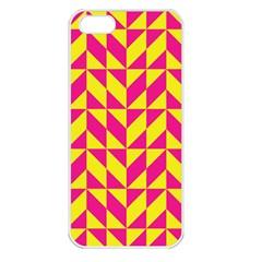 Pink and yellow shapes pattern Apple iPhone 5 Seamless Case (White)