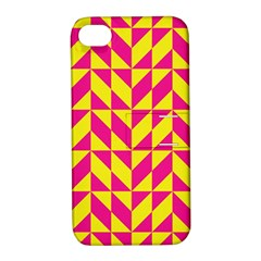 Pink and yellow shapes pattern Apple iPhone 4/4S Hardshell Case with Stand