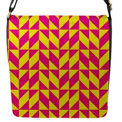 Pink and yellow shapes pattern Flap Closure Messenger Bag (S)