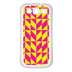 Pink and yellow shapes pattern Samsung Galaxy S3 Back Case (White)