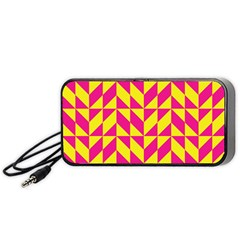 Pink and yellow shapes pattern Portable Speaker