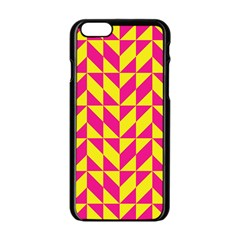 Pink And Yellow Shapes Pattern Apple Iphone 6 Black Enamel Case